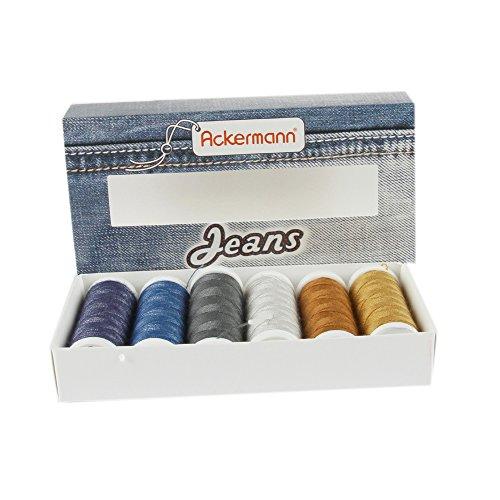 Ackermann® Jeans Nähgarnset Farben Mix, Jeansgarn 4X Stärke 30 zu je 70m & 2X Stärke 80 zu je 150m