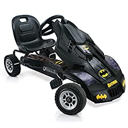 Cool Batmobile car body with Batman logos. 7.5 inch alloy-look wheels with rubber profile. Hand brakes for both rear wheels. Adjustable bucket seat. For ages 4 and over.