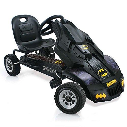 Hauck Batmobile Go-Kart für Kinder ab 4 Jahren, coole Superhelden Karosserie, Handbremse für beide Hinterräder, verstellbarer Sitz, schwarz