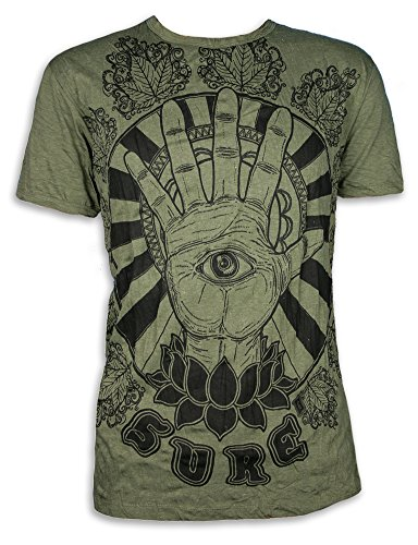 Sure T-Shirt Herren Hamsa Hand Drittes All-Sehendes PSY Auge Lotus-Blume Fatimas Psychedelic Goashirt Yoga Shirt (Olive Grün M)