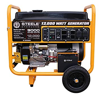 Steele Products SP12000N 12,000-Watt Gasoline Powered Electric Start Portable Generator EPA Approved Yellow and Black