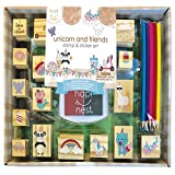 Hapinest Unicorn Wooden Stamp and Sticker Activities Arts and Crafts...