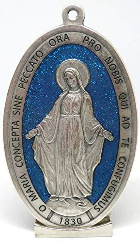 60.879.31 GLILATSU Medalla Virgen milagrosa con Base y Texto en Latino Plateado con Purpurina Azul