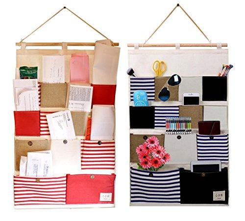 Vipo Durable Wall Door Closet Hanging Storage bag organizer, Easy handle and fashion, 13-Pockets. (2-Pack)