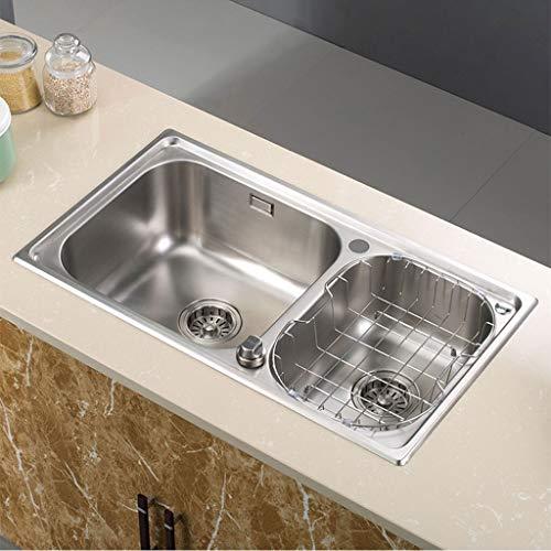 304 Acero inoxidable Manual Flume Fregadero de la cocina Lavaplatos Lavado de...