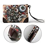 UAHYA Tattoos Eye Explosion Leather Hand Bag 3D HD Printed,Makeup Bag Handbag Purse Wristlet Wallet Clutch Phone Purse Money Pouch Wristlet Clutch Bag for Women