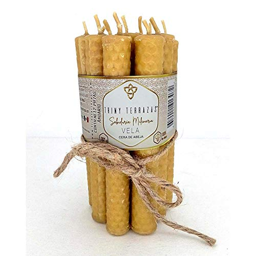 Velas largas de cera de abeja natural - Elaboración artesanal - Ecológicas decorativas mecha de algodón enrolladas a mano - Paquete...
