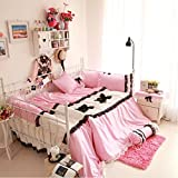 MeMoreCool Home Textile Sweet Design Girls Princess Bedding Set Lace Ruffle Quilt Covers Set High Quality 100% Cotton 3 Pieces Bedding Sets Romantic Girly Bed Skirts Set Twin