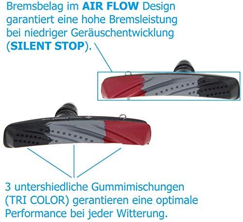 P4B Cartridge Bremsschuhe für V-Brake, Belag 3-farbig im Air-Flow-Design, 2 Paar = 4 Stück, Gehäuse-Farbe = schwarz matt - 6