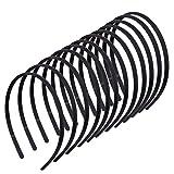 Diadema de Plástico, 12 Piezas Negro Diademas de Peine de Dientes Unisex Simple DIY Banda de Pelo para Mujeres y Niñas (8 mm)