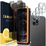 [3+2 Pack] UniqueMe Camera Lens Protector and Privacy Screen Protector Compatible with iPhone 12 Pro Max 6.7 inch Tempered Glass [U-Shaped Cutout][Easy Installation Frame] HD Clear [9H Hardness]