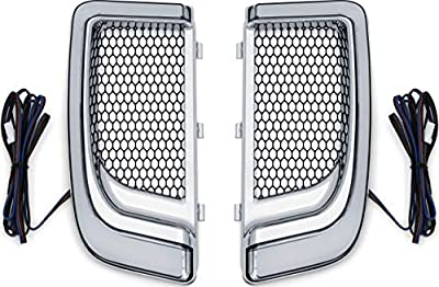 Kuryakyn 5063 Motorcycle Lighting Accessory: Tracer LED Running Light/Turn Signal Fairing Lower Grills for 2014-20 Harley-Davidson Motorcycles, Chrome, 1 Pair