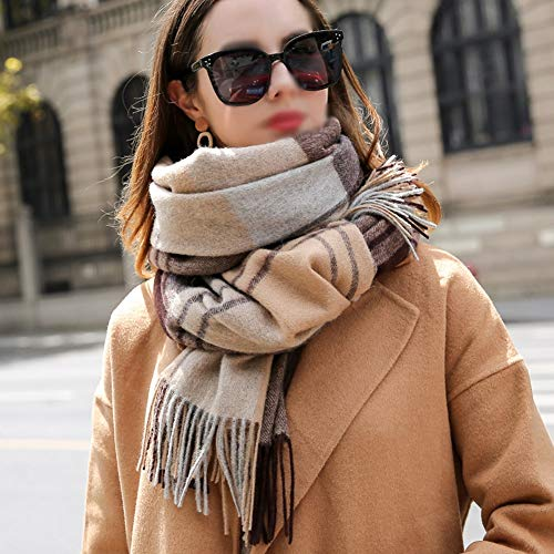 BNXTF sjaal, winterlange zachte warme Schotse ruiten sjaal wraps voor vrouwen wol kwast sjaal lange wrap 100% wol