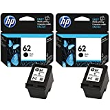 HP 2X Genuine Original 62 Black Ink Cartridge For Use with Officejet 5740 Printers, [Importado de UK]
