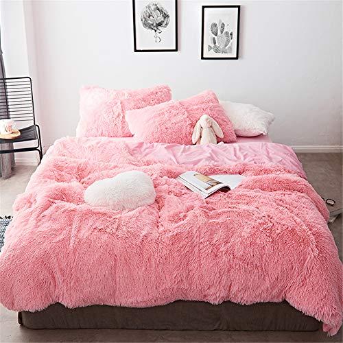 MOOWOO 4 PCS Luxury Shaggy Plush Bedding Sets, 1 Fluffy Faux Fur Duvet Cover + 1 Velvet Bed Flat Sheet + 2 Furry Pillow Shams, Zipper Closure, 4 PCS (Pink, Queen)
