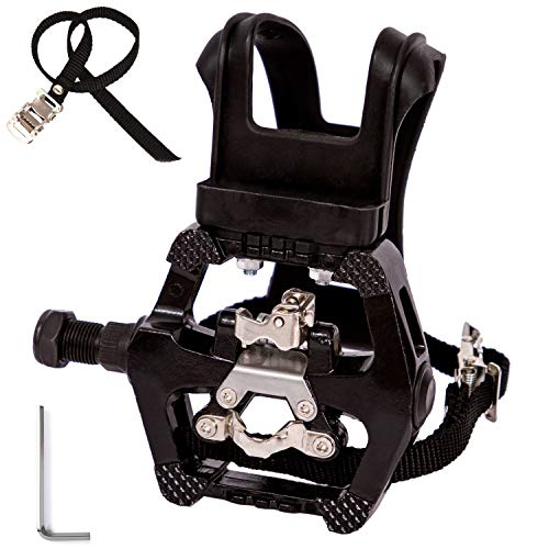 YBEKI SPD Pedals - Hybrid Pedal with Toe Clip and Straps, Suitable for Spin Bike, Indoor Exercise Bikes and All Indoor Bike with 9/16' axles. 6 Month Warranty