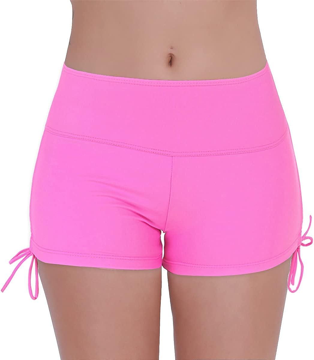 TSSOE Women's Drawstring Side Boy Shorts Swim Bottoms Full Coverage Bikini Tankini Boyleg Swimsuit
