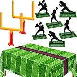 9 Pieces Football Party Decorations, Football Goal Post Centerpieces Football Player Silhouette Centerpieces 3D Football Table Centerpiece with Football Field Tablecloth Football Touchdown Tablecover