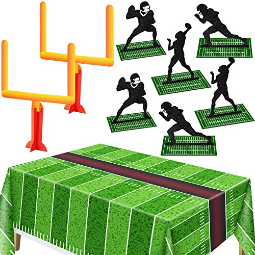 9 Pieces Football Party Decorations Football Goal Post Centerpieces Football Player Silhouette Centerpieces 3D Football Table Centerpiece with Football Field Tablecloth Football Touchdown Tablecover