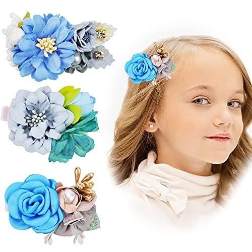 3 Stück Mädchen Blume Haarspangen Blau, Chiffon Blumen Haarclips Kinder Haarklammern Haarschmuck Kopfblume Kleinkinder Haarnadeln Combi-clip für Kinder Mädchen Geburtstag Weihnachten Geschenk (Typ C)