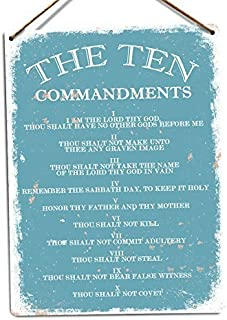 First Rober The Ten Commandments V1 (Blue) Metal Wall Sign Plaque Art Inspirational (Twine) - 8x12 inch