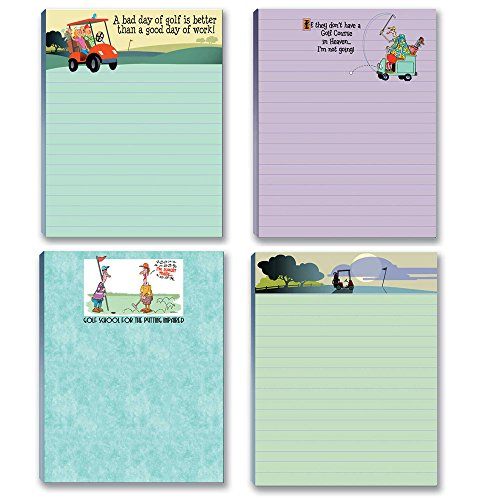 Funny Assorted Golf Theme Pads - 4 Assorted Note Pads (Golf Set #1)