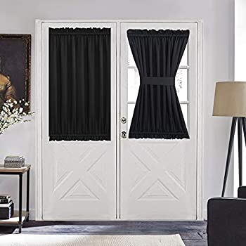 Aquazolax French Door Curtain Window Treatment - Blackout Glass Door Curtain Panel 54  x 40  Solid Thermal Insulated Drapes 1 Piece Black