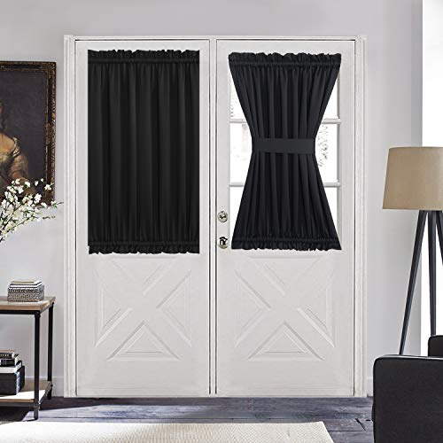 """Aquazolax French Door Curtain Window Treatment - Blackout Glass Door Curtain Panel 54"""" x 40"""" Solid Thermal Insulated Drapes, 1 Piece, Black"""