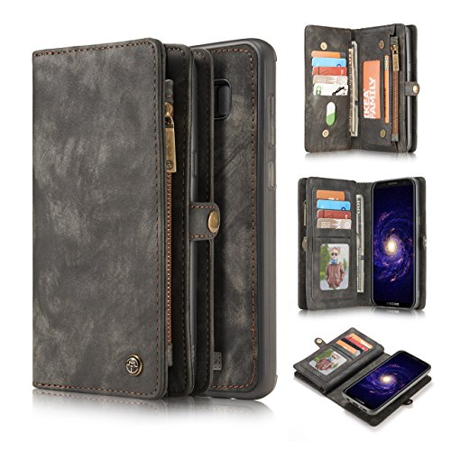 Galaxy S8 Plus Wallet Case,AKHVRS Handmade Premium Cowhide Leather Wallet Case,Zipper Wallet Case [Magnetic Closure]Detachable Magnetic Case & Card Slots for Samsung Galaxy S8 Plus - Black