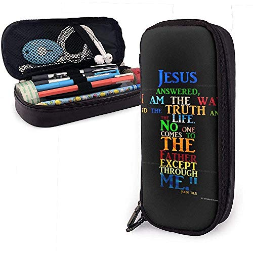 Yuanmeiju Jesus'S Answer Multifunction Canvas Leather Pencil Case Pen Bag Makeup Pouch,4X9X20 cm