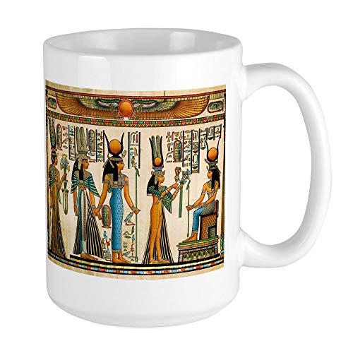 CafePress - Grande tasse à café avec tapisserie murale égyptienne antique – Grande tasse à café blanche de 44 cl