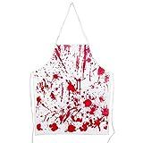 Felice Grembiule Horror di Halloween, Grembiuli per Halloween, Spaventoso Grembiule da BBQ con Impronte di Mani Sanguinanti con Tracolla Regolabile,