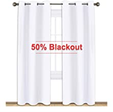 NICETOWN Window Treatment Curtain Set - 50% Light Reducing Curtains for Living Room, Curtain Panels for Patio Door (2 Panels,42 inches x 84 inches,Pure White)