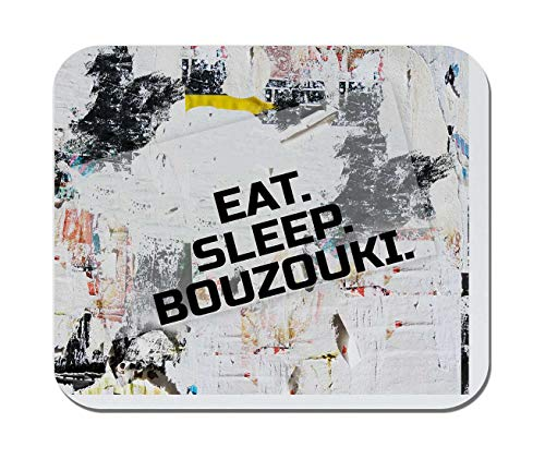 Makoroni - EAT Sleep Bouzouki Music Musician - Non-Slip Rubber - Computer, Gaming, Office Mousepad