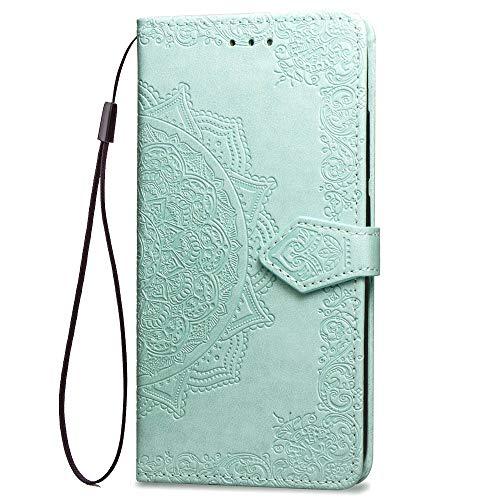 LAGUI Funda Adecuada para Xiaomi Mi 8 Lite, Relieve Dibujo Carcasa de Tipo Libro, Verde