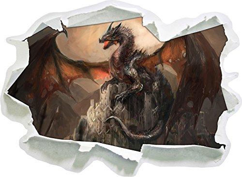 Stil.Zeit Drache schützend über Burg, Papier 3D-Wandsticker Format: 92x67 cm Wanddekoration 3D-Wandaufkleber Wandtattoo