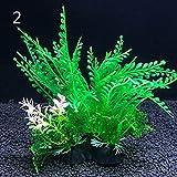 12 tipos de plantas decorativas artificiales para acuarios, plantas acuáticas decorativas de plástico, accesorios decorativos para acuario, 14 cm (color: 2, tamaño: 8 x 14 cm)