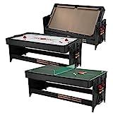 Fat Cat Original 3-in-1 Green 7' Pockey Multi-Game Table - Air Hockey, Billiards and Table Tennis - Tan