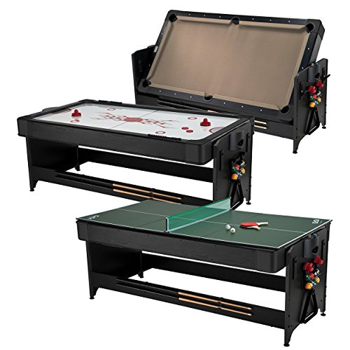 Fat Cat Pockey 7ft Black 3-in-1 Air Hockey, Billiards with Tan Felt, and Table Tennis Table