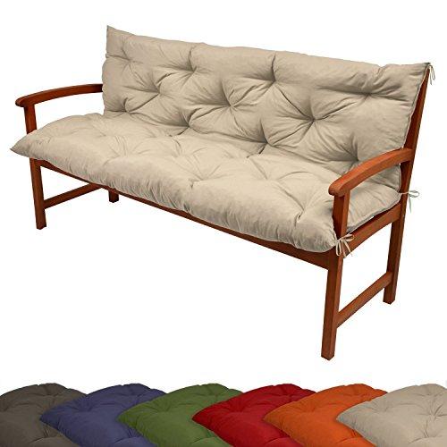 Beautissu Coussin pour Banc de Jardin, terrasse, Balcon Flair BR - balancelle - Banquette - Assise Confortable - 120x100x10 cm - Nature