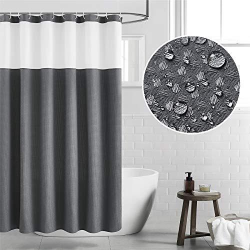Bedsure Fabric Shower Curtain Dark Gray Waffle Weave Shower Curtain for Bathroom Waterproof Bathroom Curtain with 12 Hooks Machine Washable 72x72 Inch
