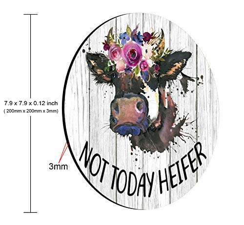 Smooffly Funny Quote Mouse Pad, Not Today Heifer,Office Desk Accessories, Cow Gifts for Her, Office Decor, Cow Round Mousepad, Quote Mouse Pad, Desk Decor Photo #3