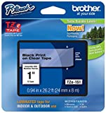 Genuine Brother 1' (24mm) Black on Clear TZe P-touch Tape for Brother PT-2700, PT2700 Label Maker