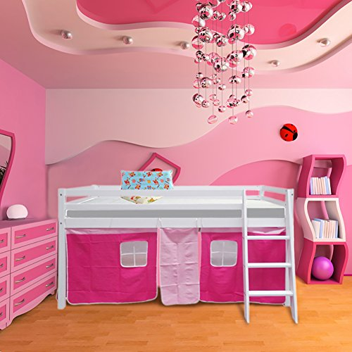 Warmiehomy Cabin Bed Wooden Mid Sleeper Cabin Bunk Bed Children Bed with Tent Ladder Kids Bed White Frame