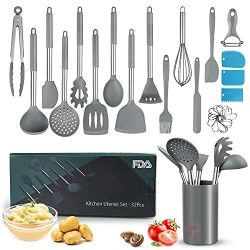 Küchenhelfer Set, 32 Stück Silikon Kochutensilien Hitzebeständige Werkzeuge zum Backen, Nichtstick Turner Kochwerkzeuge - Silikon & Premium Edelstahl, Rutschfest, BPA-Frei, Grau
