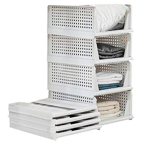 Set di 4 scatole pieghevoli per guardaroba, in plastica, per scaffali, cestini, cassetti impilabili ed estraibili, per il trasporto, colore bianco