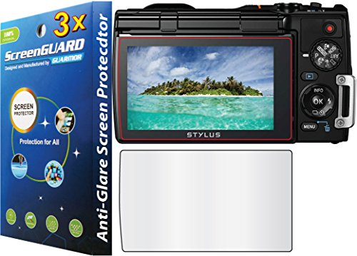 guarmorshield 3x Cámara Digital Olympus Tough TG-850iHS Premium Anti-Glare antirreflejos y antihuellas, mate acabado Protector de pantalla LCD (no, Paquete por guarmor de corte)