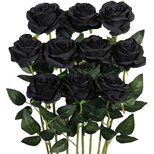 Sonline 12 Piezas de Flor Artificial Rosa Flor de Seda Falso Tallo Largo Rosa Artificial DecoracióN de Halloween para el Hogar (Negro)