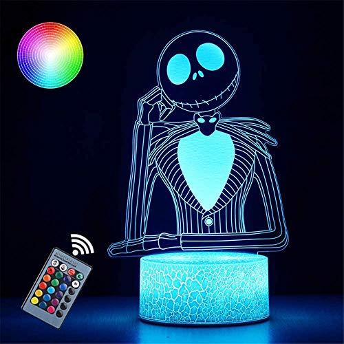 Luz de noche para niños Halloween Town Jack Skellington Luz de noche Arylic Crystal RGB Cambiable LED Estado de ánimo lámpara para cumpleaños vacaciones un regalo