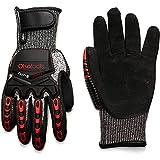 Olsa Tools Mechanic Gloves, Highly Cut Resistant, Cut Level 3 (Large) | Mechanics Gloves | Sandy Nitrile | Cut Resistant Work Gloves | Tear and Abrasion-Resistant | Impact Gloves